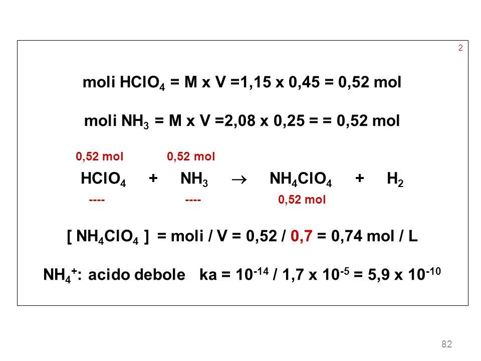 [ NH4ClO4 ] = moli / V = 0,52 / 0,7 = 0,74 mol / L
